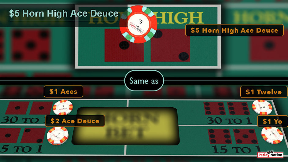 Split image. Top has $5 on the horn high ace deuce. Bottom has $2 on the ace deuce, and $1 on each the aces, yo, and twelve.