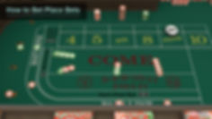 Player view from left of stick at bets splashed in the come. The puck on on the nine in the on position.