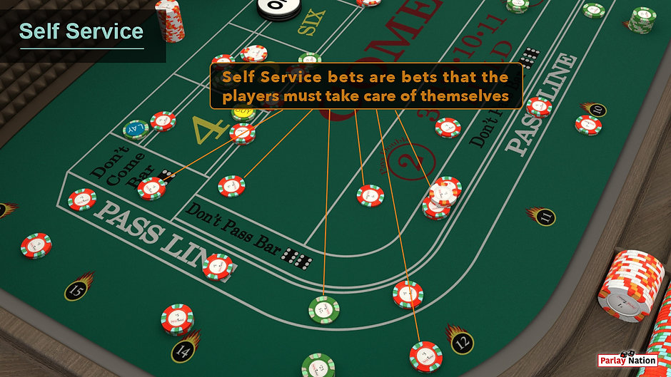 Lines pointing at bets in the don't come, come, field, don't pass, pass line, and odds which are considered self-service.