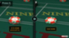 Image split. $15 bet on point nine on left side of image with $30 on the right side. Sign saying $15 nine pressed to $30.
