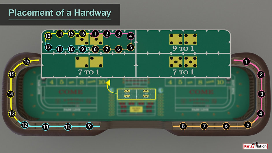 Blown up hardway section over the entire table and rail. Sections marked off 1-16 to show spots of players.