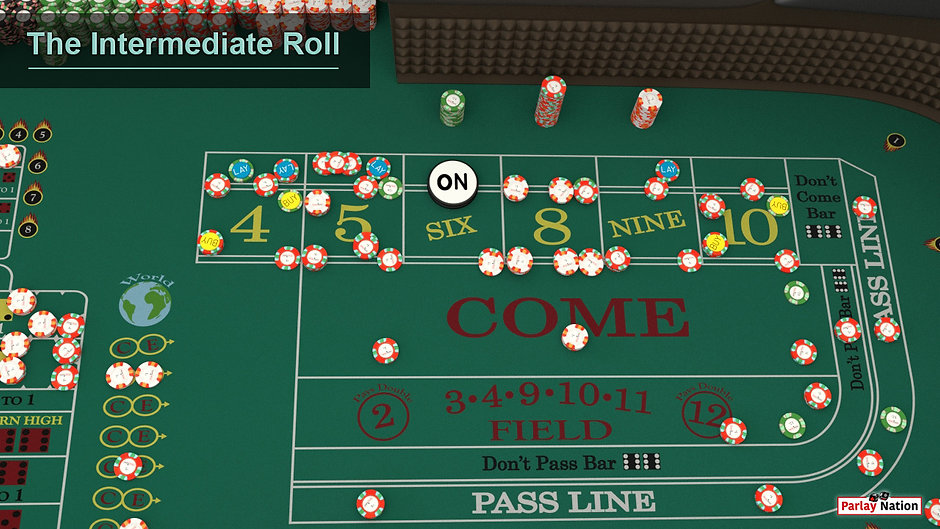 View from right of stick of the puck flipped ON the six. The are a myriad of bets on the whole side of the table.
