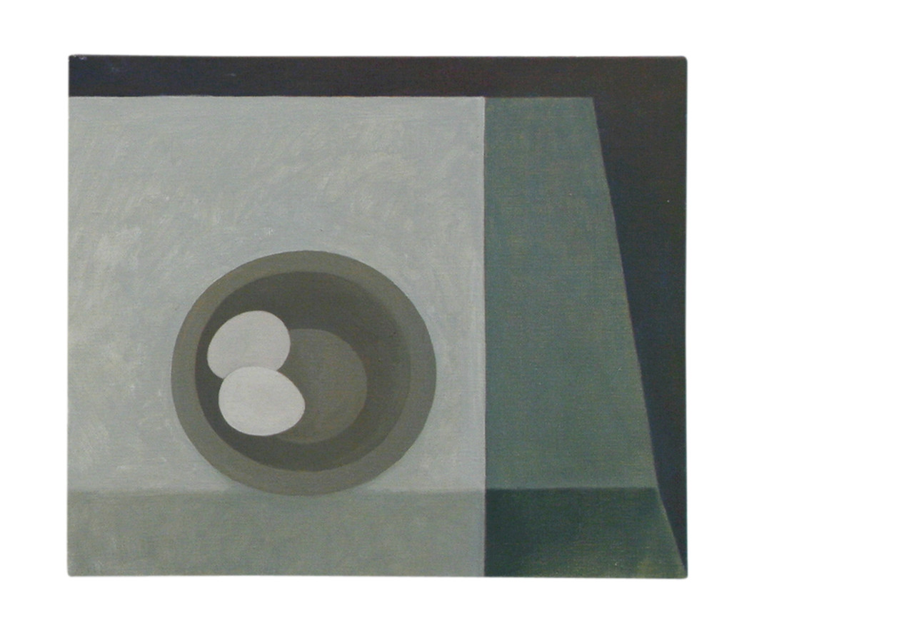 Two white eggs, green cloth