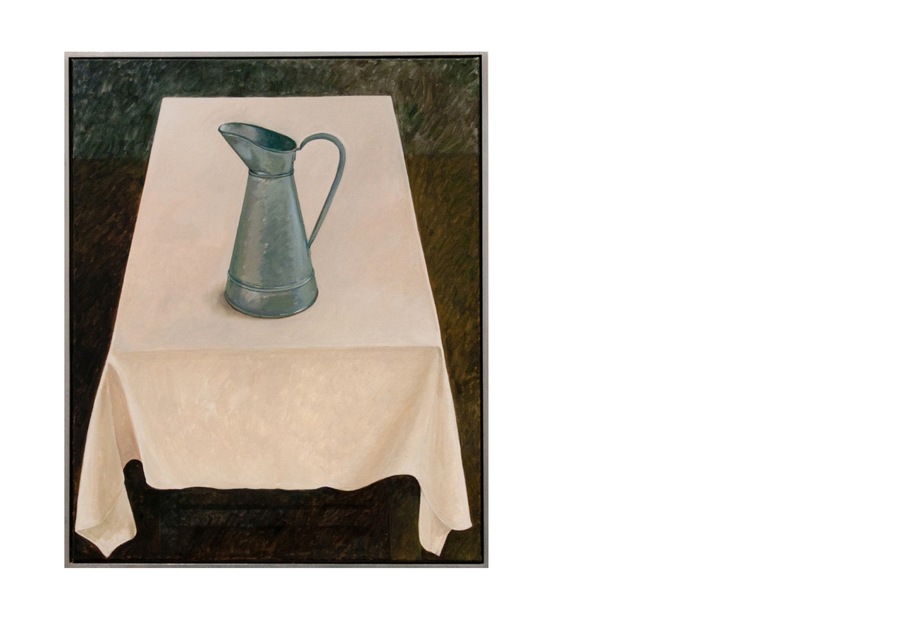 Galvanised jug on french linen cloth