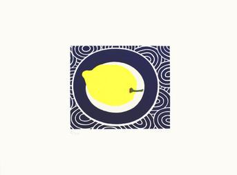 Lemon on a Blue Plate