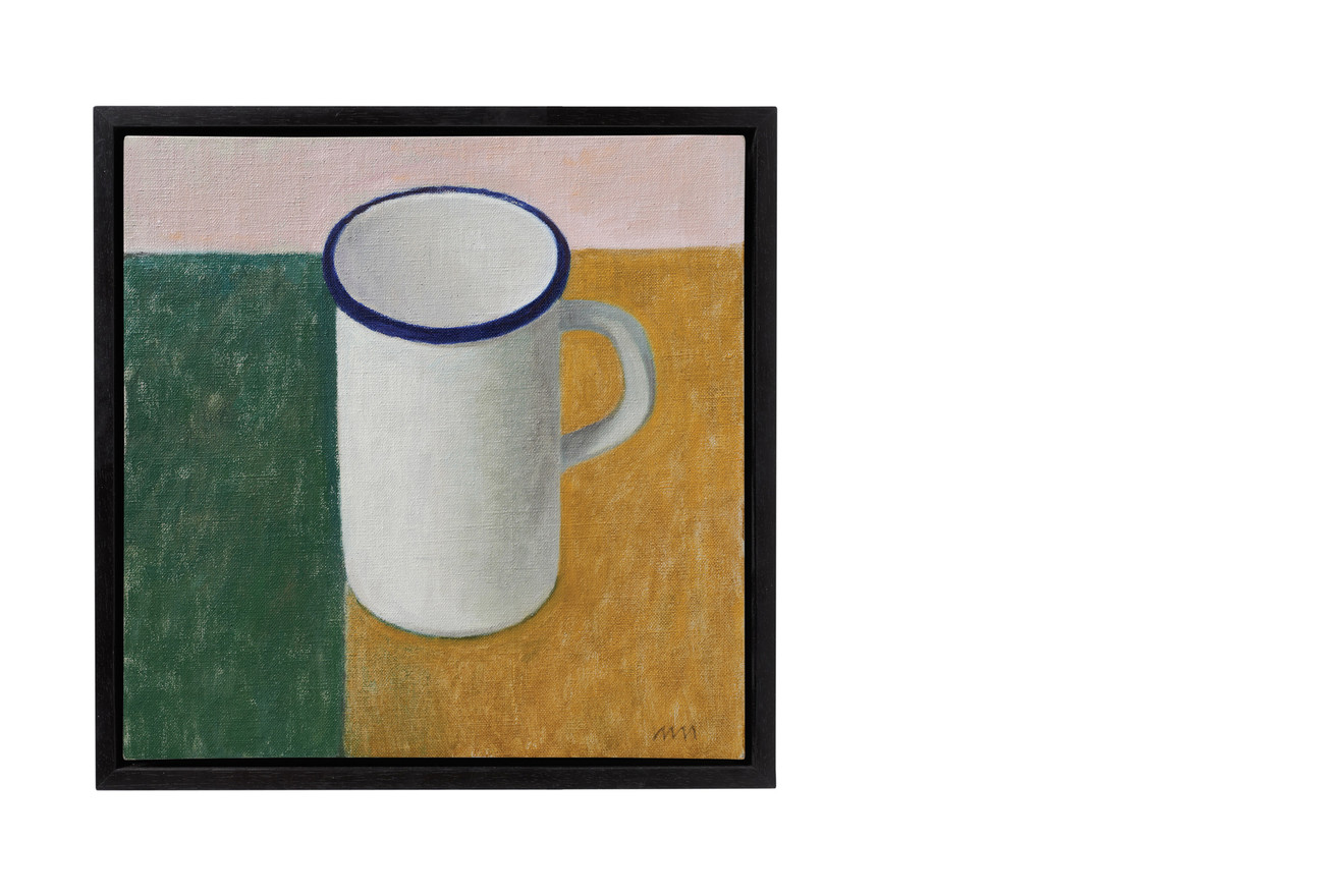 White enamel pitcher