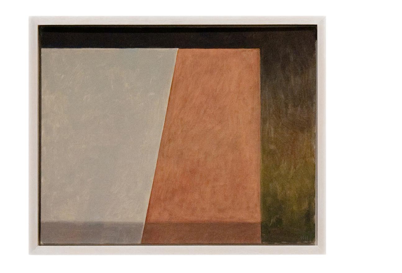 Brown table, grey cloth
