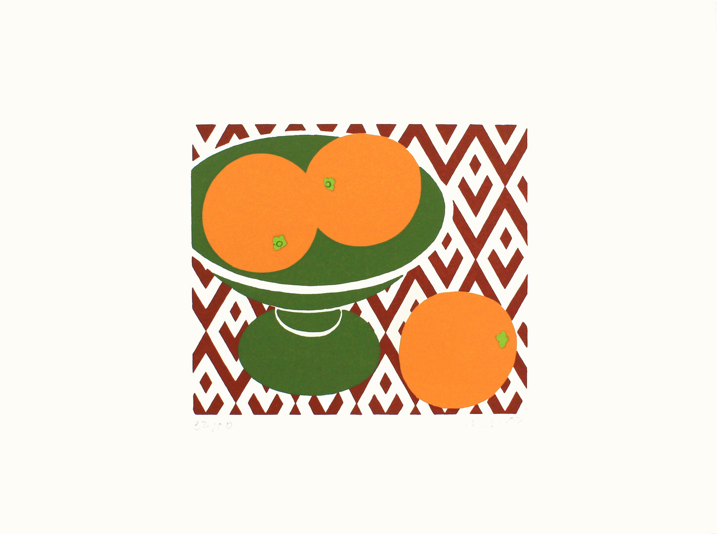 Three Oranges in a Green Dish