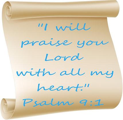 PSALM 9:1 PRAYER CANDLE