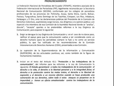 Periodistas ecuatorianos rechazan reformas y plantean cambios a la Ley de Comunicación