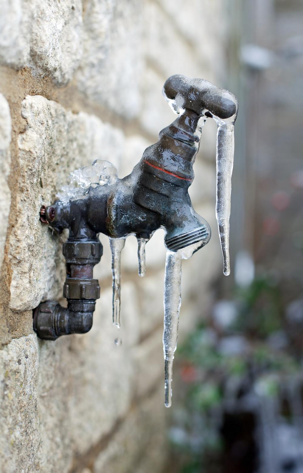 Frozen Outdoor Water Faucet