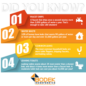 BODEK INC Did You Know Plumbing Leak Facts FAQ Faucet Toilet Shower Water Waste