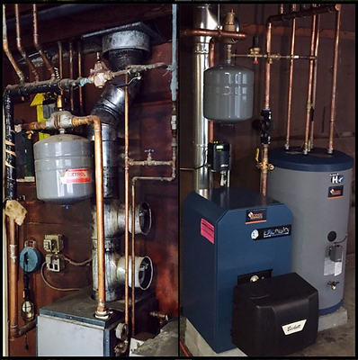 Hot water tank and boiler replacement installation