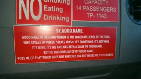 My Good Name Taxi Sign