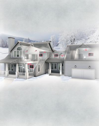 Multiple Zone House Illustration Mitsubishi Electric Ductless Mini-Split Heating & Cooling