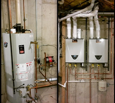 Before and after traditional water tank to twin tankless water heaters
