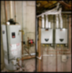 Water tank heater insallation of twin on-demand tankless units