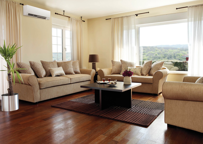 Mitsubishi Electric Ductless Mini-Split Heating & Cooling Living Room Year-Round Comfort Solution