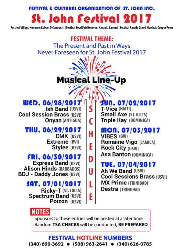 St John Festival Carnival Musical Line-Up