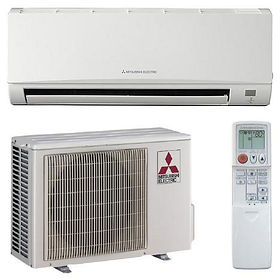 Mitsubishi Ductless Mini-Split Heating Air Conditioning System Indoor Unit Outdoor Unit Remote