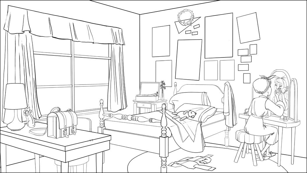 Morning in Dorothy's Room lineart