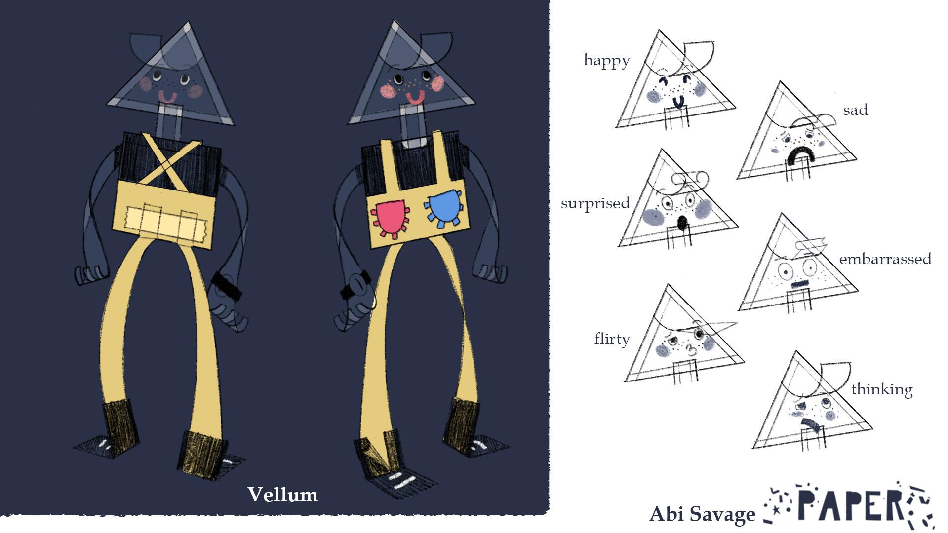 Vellum Turnaround and Expression Sheet