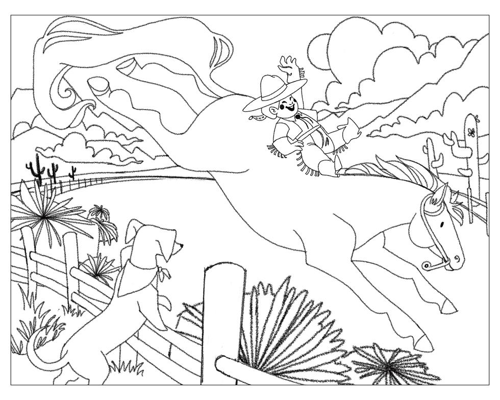 Rowdy Cowgirl Sketch