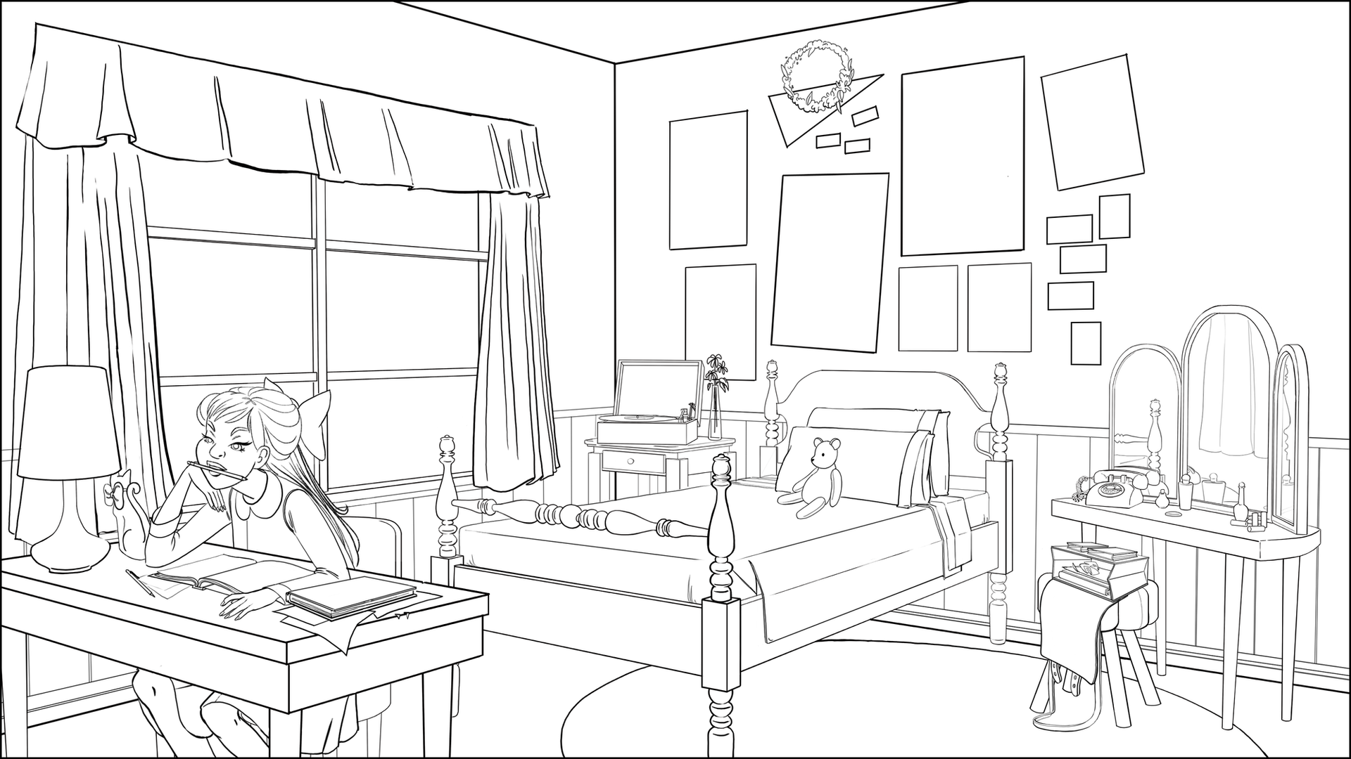 Evening in Dorothy's Room lineart