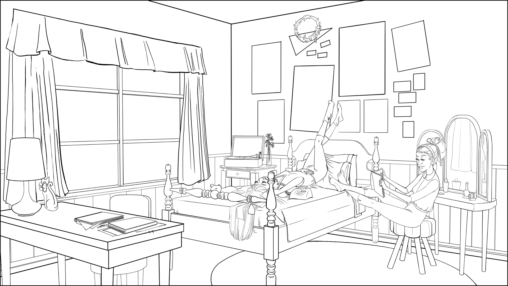 Night in Dorothy's Room lineart