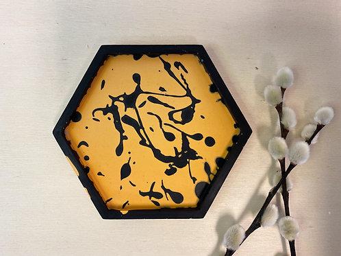 Onderzetters SPLAT geel zwart