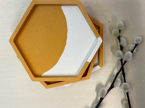 Onderzetters SPLAT geel wit