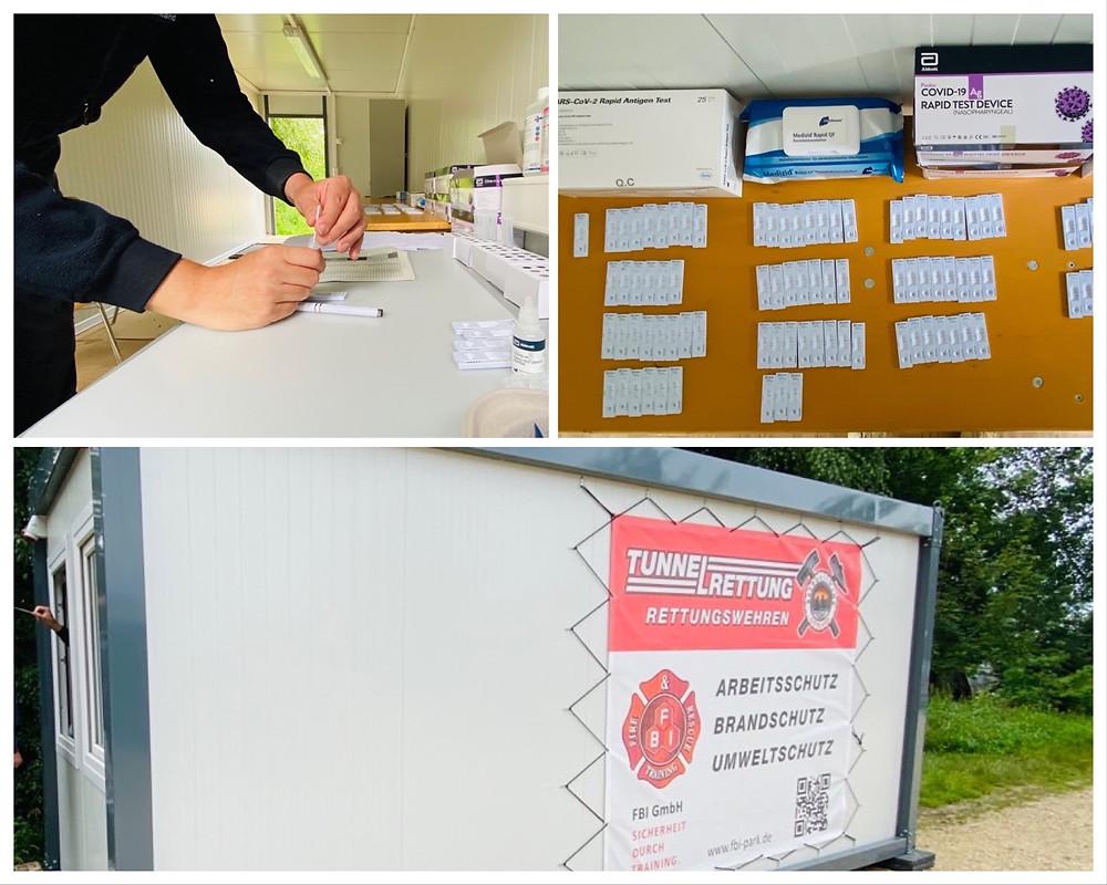 Collage die verschiedene Vorbereitungen für Corona-Antigen-Tests durch FBI-Personal zeigt