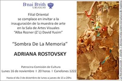 "B'nai B'rith inaugura muestra de arte ""Sombra de la Memoria"", de Adriana Rostovsky"