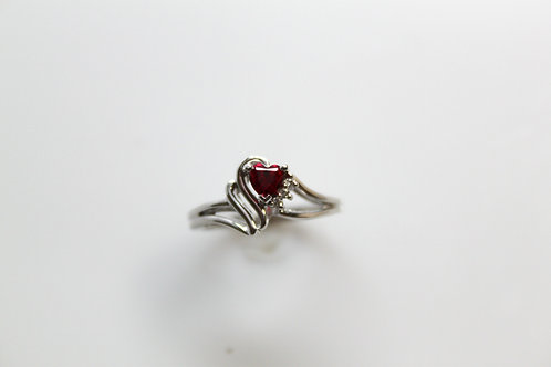 Heart Ring with Ruby & Diamonds