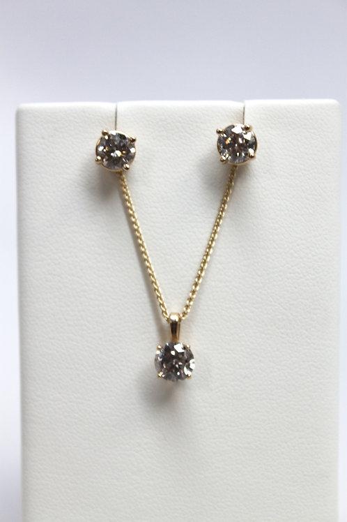 Round Diamond Earrings & Pendant