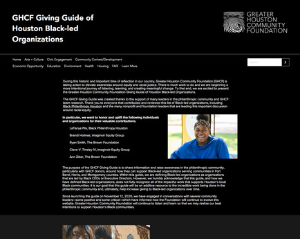 GHCF Giving Guide of Houston Black-led Organizations