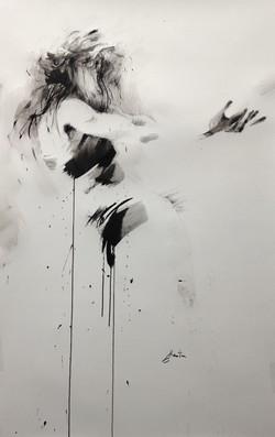 encre de chine, fusain et pierre noire sur papier; 120x75cm