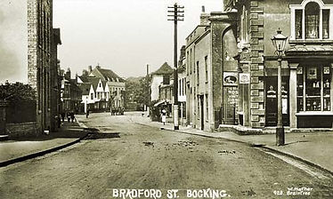 Bradford Street, Bocking with no. 46,Cardinals on the right of the picture © Braintree District Museum – Adlams Collection