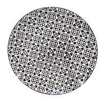 Black & White Floral Blue Rim Plate