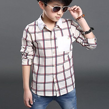 Plaid Check Pattern Patchwork Long Sleeve