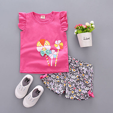 Baby Girls' Casual / Active Daily / Going out Sun Flower Floral Print Short Slee