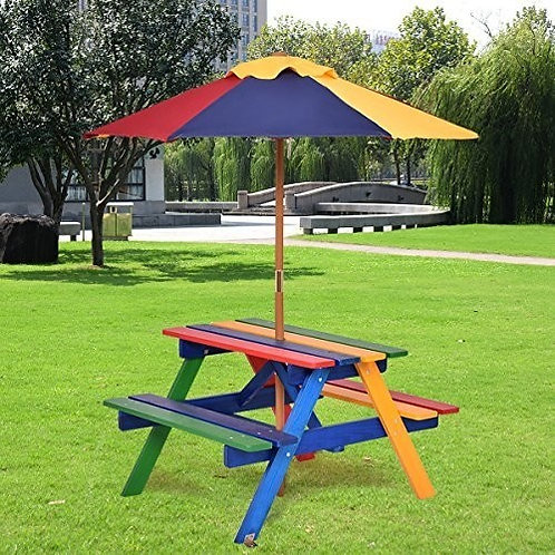 4 Seat Kids Picnic Table w/ Folding Umbrella