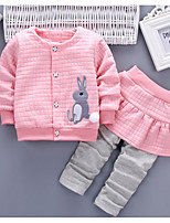 Baby Girls' Basic Daily Solid Colored / Color Block Patchwork Long Sleeve Regula