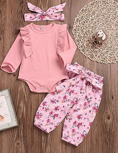 Baby Girls' Street chic Solid Colored Long Sleeve Regular Clothing Set Blushing