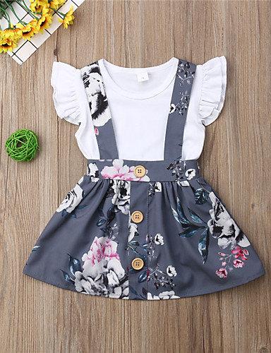 Baby Girls' Boho Floral Ruffle / Print Short Sleeve Regular Cotton