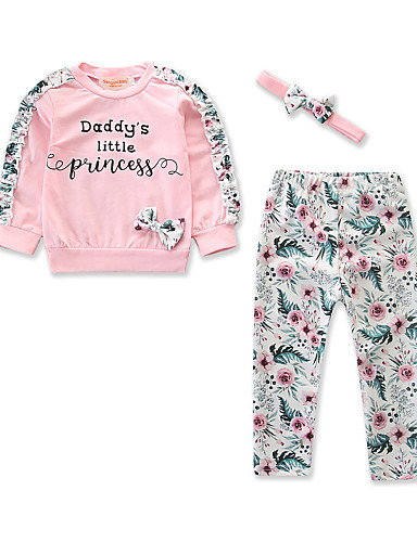 Baby Girls' Active / Basic Daily / Holiday Floral / Print Bow / Print Long Sleev