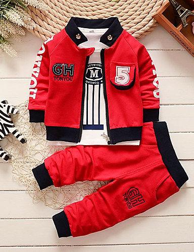 Baby Boys' Basic White / Red Striped / Print Print Long Sleeve Long Long Clothin