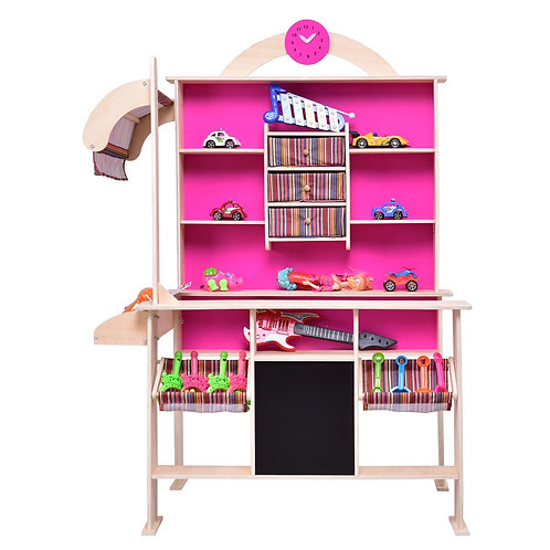 Pink Kids Wooden Toy Shop Market Shopping Pretend Play Set