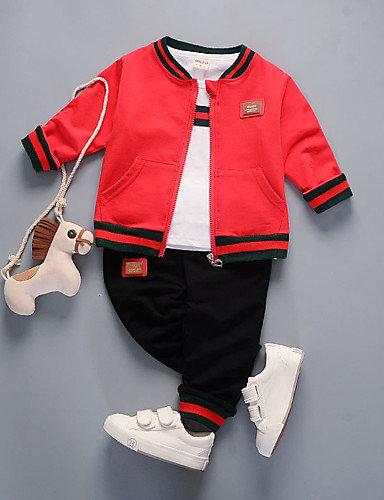 Baby Boys' Basic Solid Colored Long Sleeve Regular Regular Cotton Clothing Set B