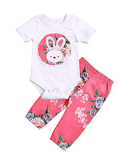 Baby Girls' Active Rabbit Print Print Short Sleeve Long Short Clothing Set White
